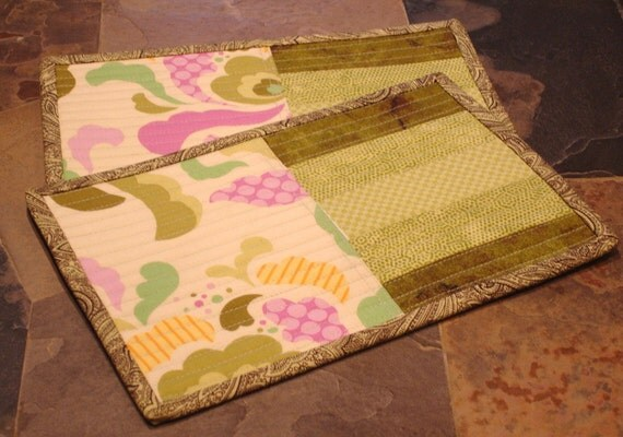 Quilted Mug Rugs - Amy Butler Midwest Modern/Shades of Green Strip Pieced- Set of 2