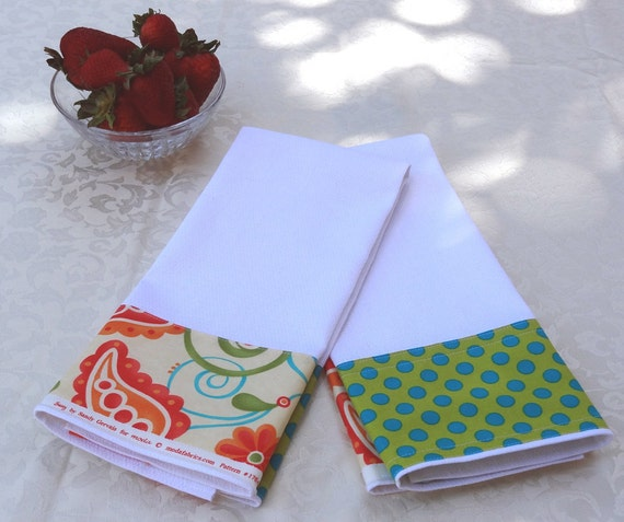 "Tea Towels - ""Sassy Summer"" Fabric Trimmed - Set of 2"