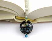 Prairie Flowers Lampwork Swarovski Crystal and Seed Bead Bookmark aka Book Thong perfect addition to your library