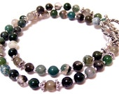 Spanish Moss 24 inch necklace made with green moss agate and lovely labradorite beads too