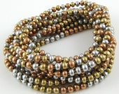 Heavy Metal Mix set of ten stretchy seed bead bracelets SIZE:  small 6.5 inches