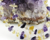 Irresistable Iris amethyst and citrine 18 inch gemstone chip choker with magnetic clasp