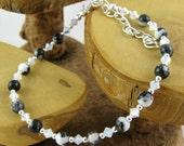 Zebra Jasper classic black and white gemstone and Swarovski crystal ankle bracelet