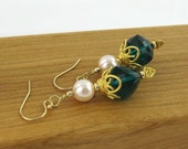 Sophia elegant teal quartz twisted cube luxe gold filled french hook earrings