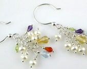 Confetti Summer Multicolor Gemstone and Freshwater Pearl Sterling Silver Chain Earrings