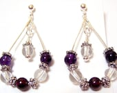 Concorde Grape Teardrop ball and post earrings made with genuine amethyst garnet and crystal clear quartz too