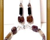 Pietersite and Petrifed Wood Sterling Silver Bracelet and French Hook Earrings Set