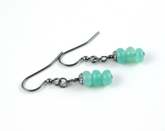 Mint Green Hememophrite gunmetal french hook stacked gemstone rondelle earrings