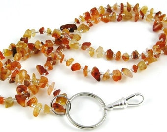 Back to School Orange Carnelian gemstone chip lanyard ... perfect for your ID badge key eyeglasses