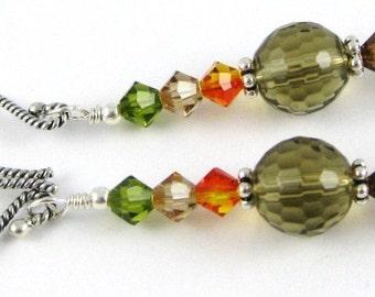 Fall Fantasy Earrings smoky quartz Swarovski crystals and sterling silver too