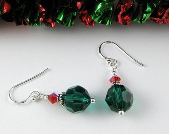 Christmas Green and Red Simply Swarovski sterling silver earrings