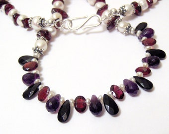 Gorgeous White Freshwater Pearl and Garnet Chip Necklace featuring Briolettes of Rhodolite Garnet Black Onyx and Amethyst