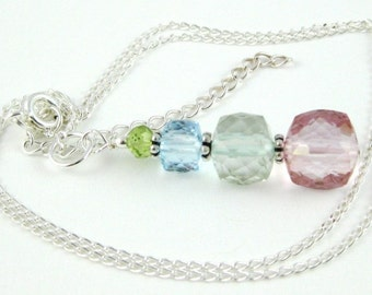 Spring Pastel Stacked Gemstone Pendant Necklace on a sterling silver chain