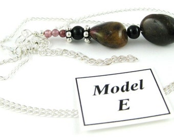 Tumbled Tourmaline Nugget Pendant necklace on a sterling silver chain MODEL E
