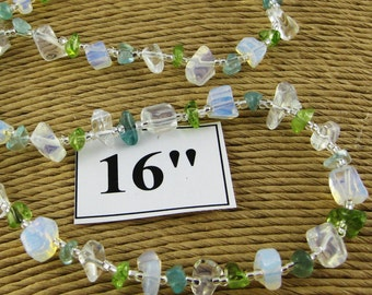 Laguna Aqua and Green 16 inch gemstone chip choker with magnetic clasp