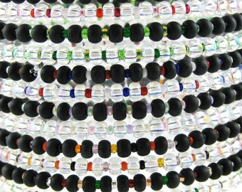 Happy EVERYTHING Multicolor set of 12 stretchy seed bead bracelets Size M 7 Inches