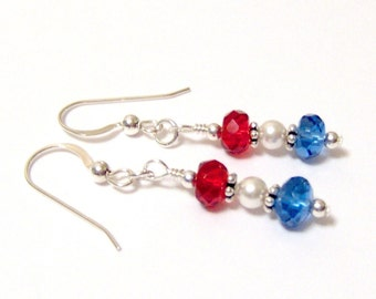 Patriotic Red White and Blue Quartz Swarovski Sterling Silver French Hook Earrings