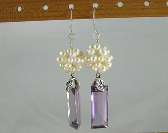 Lilac Bride ultra luxe amethyst and freshwater pearl sterling silver earrings