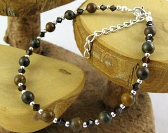 Tiger Iron mahogany brown gemstone and Swarovski crystal ankle bracelet