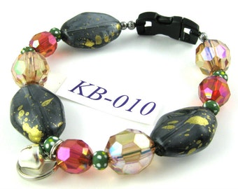 KB-010 multicolor acrylic and wood Kitty Cat Bling Beaded Collar complete with breakaway buckle bell and tag ring