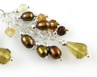 Caramel Mocha Sterling Silver French Hook Cascade Earrings ... featuring hessonite beer quartz and brown freshwater pearls