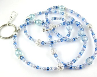 Baby Blue Czech Crystal and Pearl Lanyard ... Perfect for ID Badges Glasses Whatever You Desire Back to School