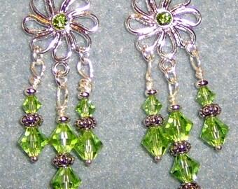 Swarovski Crystal Daisy Sterling Silver Post Chandelier Earrings Peridot Green