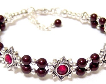 Swarovski Pearl Adjustable Slider Bracelet Maroon Siam Red