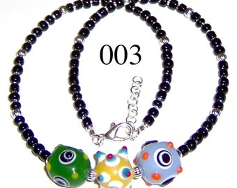 Child Lampwork Bead Necklace Adjustable from 15 to 16 Inches Model 003