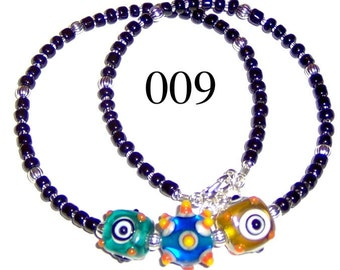 Child Lampwork Bead Necklace Adjustable from 15 to 16 Inches Model 009