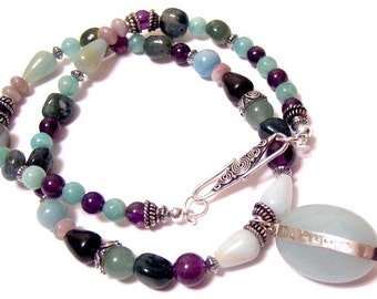 Peace From Alorinna....A Glorious Necklace in Blue Green Amazonite and Amethyst 18 Inches
