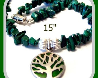 Malachite Chip Green Tree Charm Necklace 15 Inches