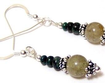 Green Grass Garnet Emerald Sterling Silver French Hook Earrings
