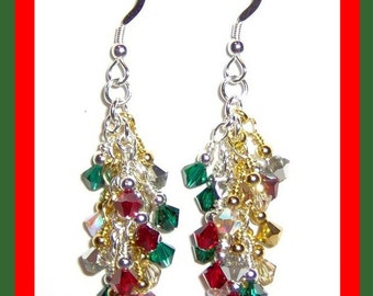 Swarovski Crystal Christmas Waterfall Cascade Sterling Silver French Hook Earrings       Perfect for the Holiday Season
