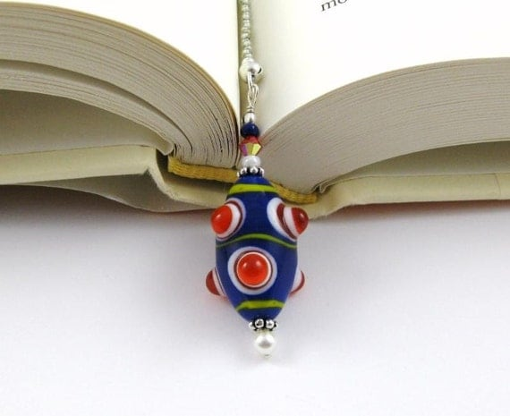 Rocket Ship Lampwork Swarovski Crystal and Seed Bead Bookmark aka Book Thong a perfect addition to your library
