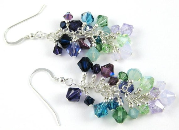 Gemstone Inspiration Swarovski Crystal Sterling Silver Cascade Earrings Faux Fluorite