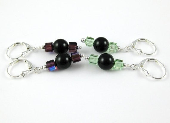 Keep a pair share a pair ... two pairs of Swarovski crystal and black pearl earrings Set 9 deep purple and light green