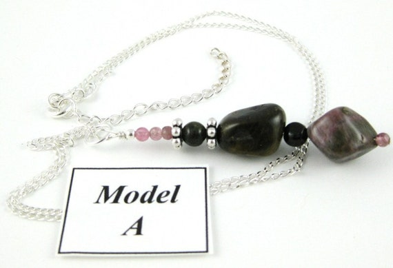Tumbled Tourmaline Nugget Pendant necklace on a sterling silver chain MODEL A