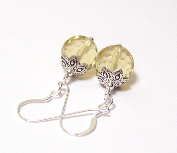 Lemon Yellow Disco Ball Quartz Earrings with Karen Hill Tribe Silver Beadcaps