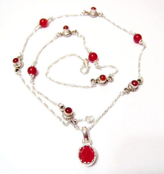 Red Carnelian sterling silver Pendant and Jeweled Chain 24 Inches Long SALE PRICE