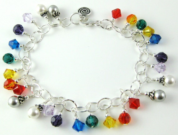 Triple Rainbow multicolor sterling silver Swarovski crystal charm bracelet