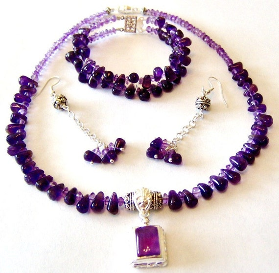 Grape and  Lavender Amethyst Pendant Set Necklace Bracelet Earrings Signature Design from Beads By Brenda