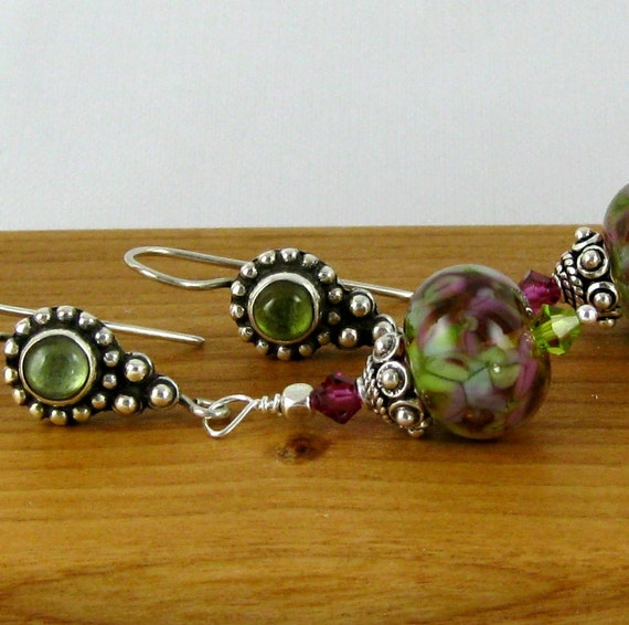 Country Garden Lampwork bead earrings with peridot sterling silver french hook earwires
