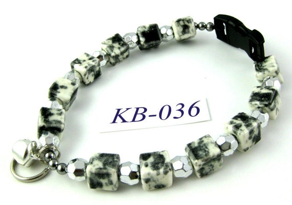 KB-036 black and white porcelain cubes and silver acrylic Kitty Cat Bling Beaded Collar complete with breakaway buckle bell and tag ring
