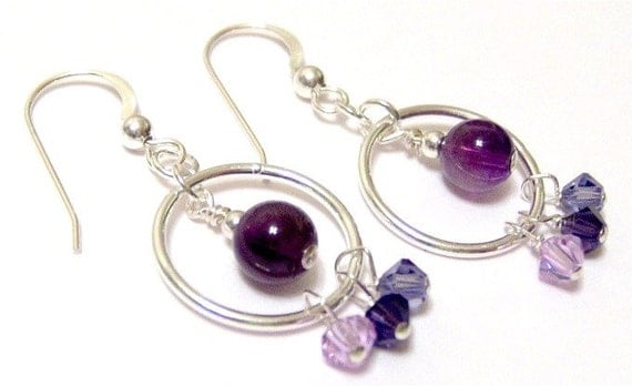Purple Circle French Hook Earrings Featuring Amethyst Swarovski Crystals and Sterling Silver