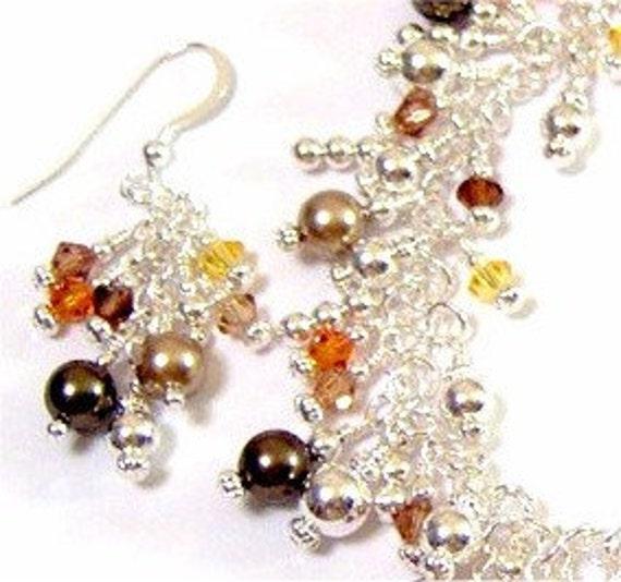 Swarovski Crystal and Pearl Sterling Silver Fringe Bracelet and Earrings Tantalizing Topaz