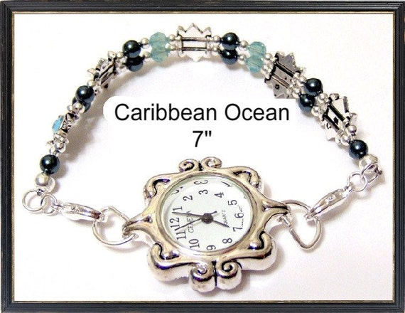 Caribbean Ocean Water Swarovski Pearl Crystal and Pure Allure Slider Watch with Interchangeable Band 7 Inches