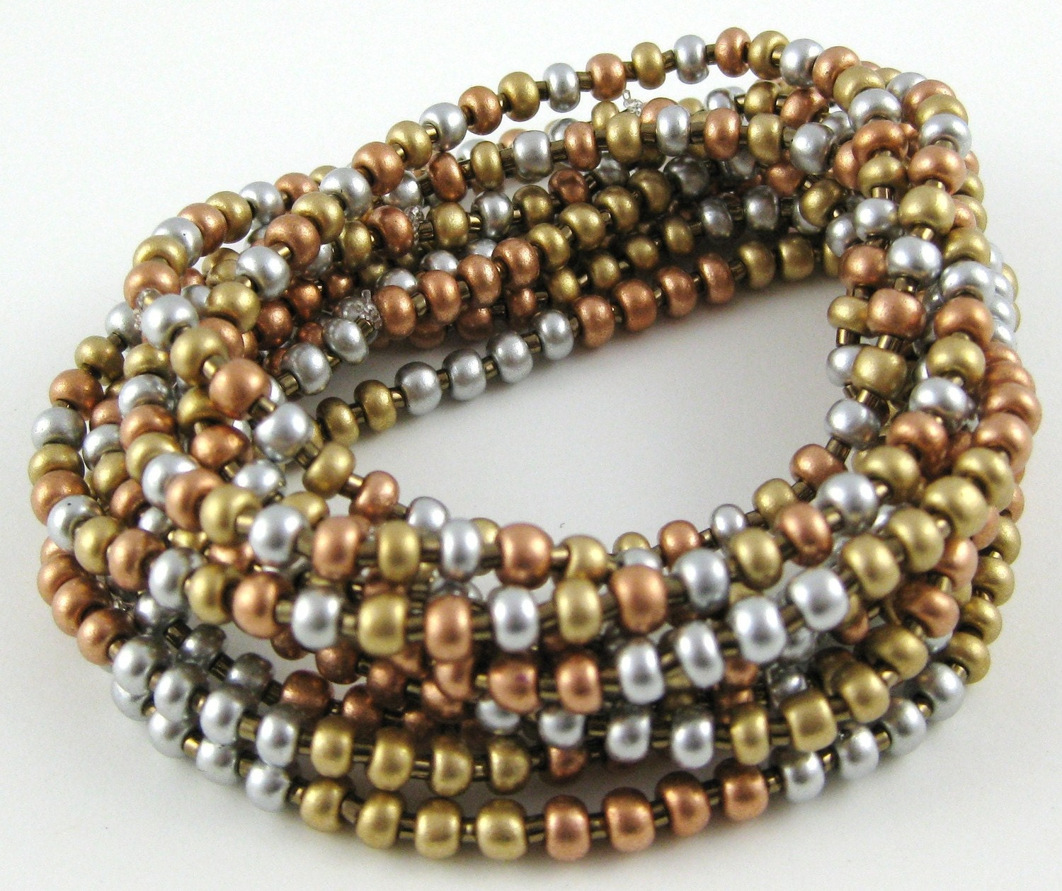 Small Size Beads: Heavy Metal Mix Set Of Ten Stretchy Seed Bead Bracelets