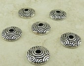 6 TierraCast 11mm Spiral Dance Large Hole Bead Caps > Celtic Doodle Swirl Fine Silver Plated LEAD FREE pewter I ship Internationally 5742