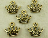 5 TierraCast Kings Crown Charms > Fairy Tale Royal Princess - 22kt Gold Plated Lead Free Pewter - I ship Internationally 2279